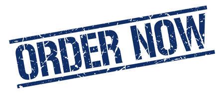 order now: order now blue grunge square vintage rubber stamp Illustration