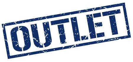 outlet: outlet blue grunge square vintage rubber stamp Illustration