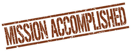 accomplish: mission accomplished brown grunge square vintage rubber stamp