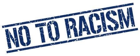 racismo: no al racismo grunge azul sello de goma cuadrado de la vendimia
