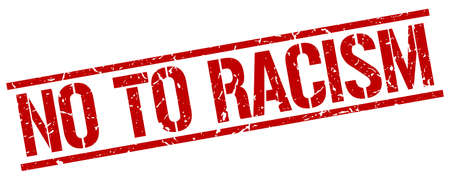 racismo: no al racismo rojo grunge sello de goma cuadrado de la vendimia