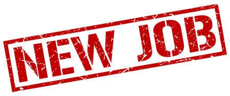 new job: new job red grunge square vintage rubber stamp Illustration
