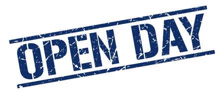 open day: open day blue grunge square vintage rubber stamp Illustration