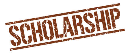 scholarship: scholarship brown grunge square vintage rubber stamp