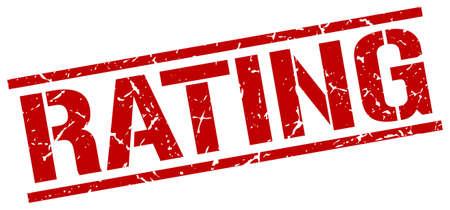 rating: rating red grunge square vintage rubber stamp
