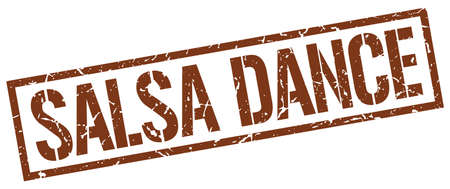 salsa dance: salsa dance brown grunge square vintage rubber stamp