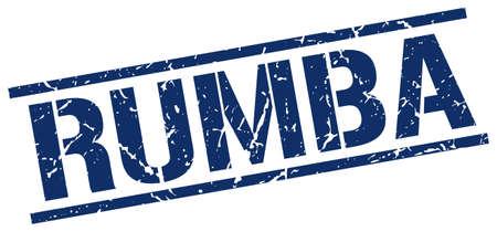 rumba: rumba blue grunge square vintage rubber stamp Illustration