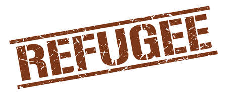 refugee: refugee brown grunge square vintage rubber stamp