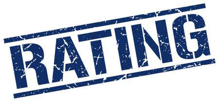 rating: rating blue grunge square vintage rubber stamp