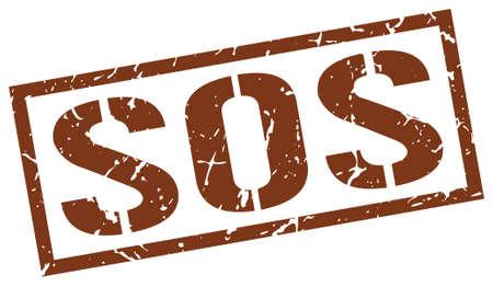 sos: sos brown grunge square vintage rubber stamp