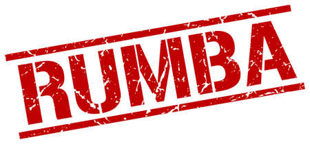 rumba: rumba red grunge square vintage rubber stamp