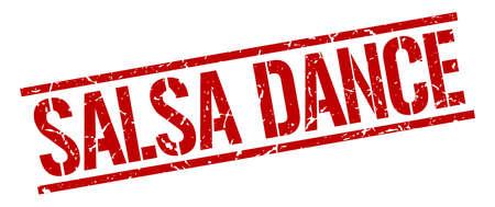 salsa dance: salsa dance red grunge square vintage rubber stamp Illustration