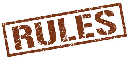 rules: rules brown grunge square vintage rubber stamp