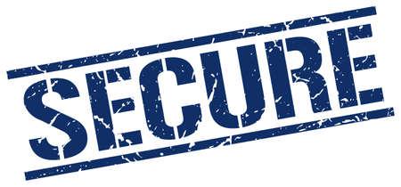secure: secure blue grunge square vintage rubber stamp