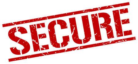 secure: secure red grunge square vintage rubber stamp