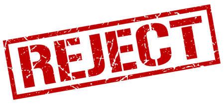 reject: reject red grunge square vintage rubber stamp