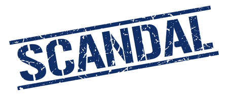 scandal: scandal blue grunge square vintage rubber stamp