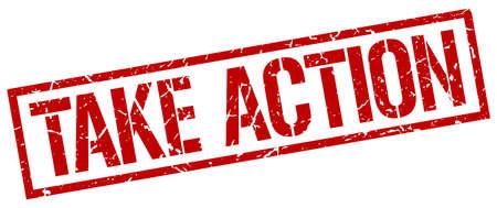 take action: take action red grunge square vintage rubber stamp