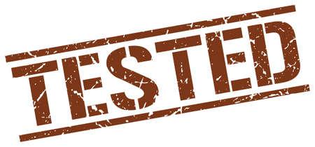 tested: tested brown grunge square vintage rubber stamp Illustration