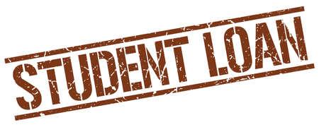 student loan: student loan brown grunge square vintage rubber stamp