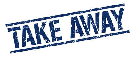 take away: take away blue grunge square vintage rubber stamp Illustration