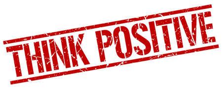 think positive: think positive red grunge square vintage rubber stamp Illustration