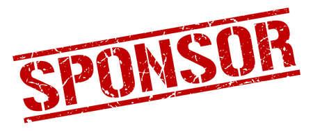 sponsor: sponsor red grunge square vintage rubber stamp Illustration