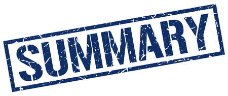 summary: summary blue grunge square vintage rubber stamp