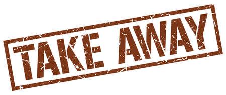 take away: take away brown grunge square vintage rubber stamp Illustration
