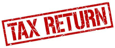 tax return: tax return red grunge square vintage rubber stamp