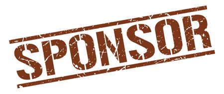 sponsor: sponsor brown grunge square vintage rubber stamp