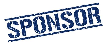 sponsor: sponsor blue grunge square vintage rubber stamp Illustration