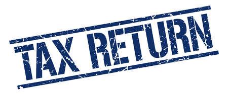 tax return: tax return blue grunge square vintage rubber stamp Illustration