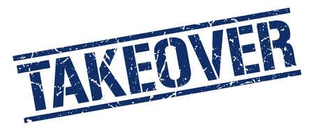 takeover: takeover blue grunge square vintage rubber stamp