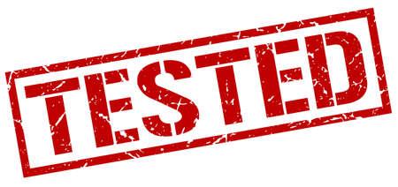 tested: tested red grunge square vintage rubber stamp Illustration
