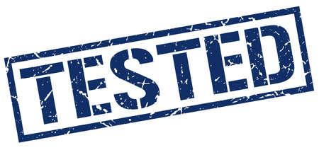 tested: tested blue grunge square vintage rubber stamp Illustration