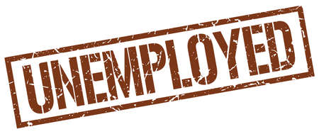 jobless: unemployed brown grunge square vintage rubber stamp Illustration