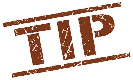 tip: tip brown grunge square vintage rubber stamp Illustration