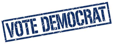 democrat: vote democrat blue grunge square vintage rubber stamp Illustration