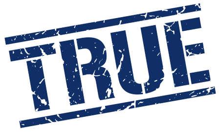 true: true blue grunge square vintage rubber stamp