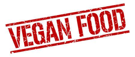 vegan food: vegan food red grunge square vintage rubber stamp Illustration