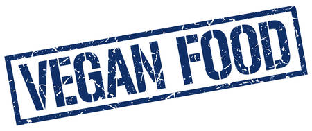vegan food: vegan food blue grunge square vintage rubber stamp