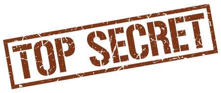 top secret: top secret brown grunge square vintage rubber stamp