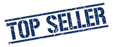 top seller: top seller blue grunge square vintage rubber stamp Illustration