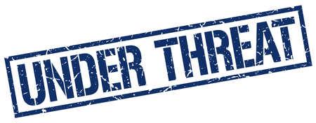 threat: under threat blue grunge square vintage rubber stamp