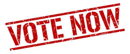 democrats: vote now red grunge square vintage rubber stamp Illustration
