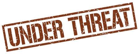 threat: under threat brown grunge square vintage rubber stamp