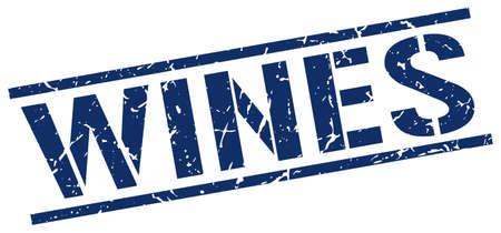 wines: wines blue grunge square vintage rubber stamp Illustration