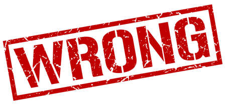 wrong: wrong red grunge square vintage rubber stamp