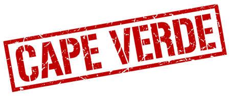 verde: Cape Verde red square stamp